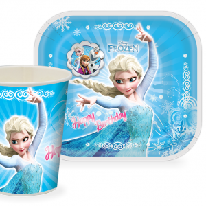پیش دستی و لیوان تم تولد دخترانه فروزن (Frozen)