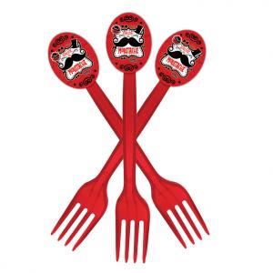 چنگالیکبار مصرف شفاف قرمز تم تولد مردانه سبیل (Moustache)