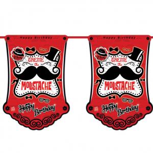 ریسه پرچم تم تولد مردانه سبیل (Moustache)