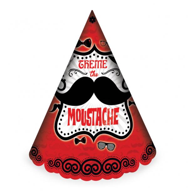 کلاه ساده اکلیلی تم تولد مردانه سبیل (Moustache)